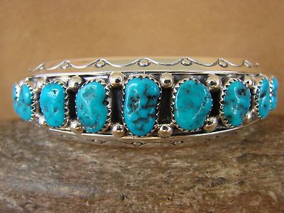 Native American Sterling Silver Turquoise Row Bracelet by Sarah Curley