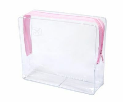 Travel Zip Bag Clear Airport  Liquid Toiletries Cabin Holiday Pouch - Pink