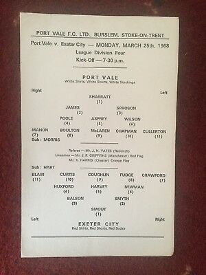 Port Vale v Exeter City Rare Single Card Programme, March 25th 1968