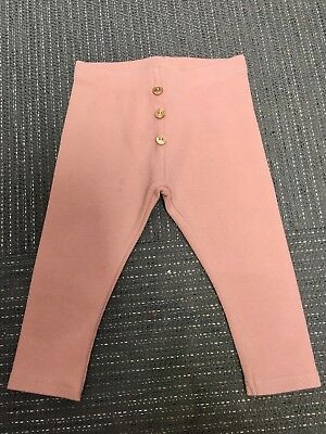 Zara Baby Girl Ribbed Dusky Pink Leggings 18/24 Months