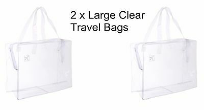 2 x HOLIDAY TRAVEL TOILETRIES BAGS - Clear Plastic Airline Airport Bag - LARGE