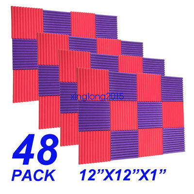 48 Pack RED/purple Acoustic Wedge Studio Soundproofing Foam Wall Tiles 12x12x1