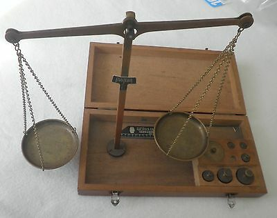 Antique German Brass Apothecary Gold Scale & Weight Set- in Original Wooden Case