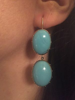 Victorian 10ct Gold Drop Dangle Earrings collet set with LARGE Turquoise Gems