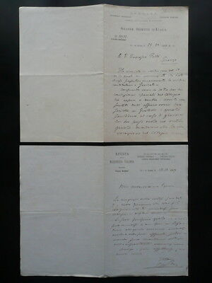 Massoneria Italiana Grande Oriente d'Italia Due Lettere Manoscritte 1897-98