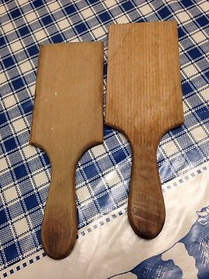 Vintage/Antique Wooden Butter Pats, Grooves On One Side, Smooth On The Other.