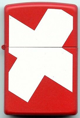 Zippo Red With White Swiss Cross, Absolutely New, Never Used, Never Filled