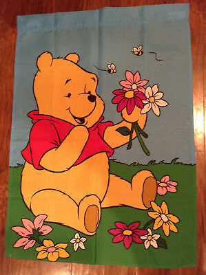 "LOT OF 2 Disney Winnie The Pooh ""SPRING & CHRISTMAS"" Themed Flags NICE LOOKIN!"