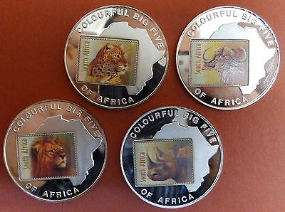 Lot of 4 x 1000 Shillings Uganda 2001 Proof Coins with Wild animal of the jungle
