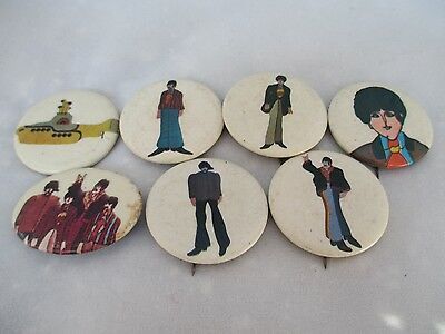Vintage Beatles Yellow Submarine Pins1968 John Paul George Ringo Lot of 7