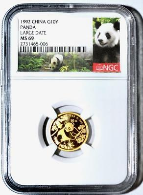 1992 China 10 Yuan Large Date Gold Panda Coin NGC/NCS MS69  Conserved!!