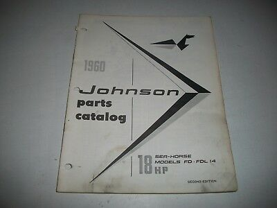 1960 Johnson Fd Fdl14  Sea-Horse 18 Hp Outboard  Illustrated Parts List Catalog