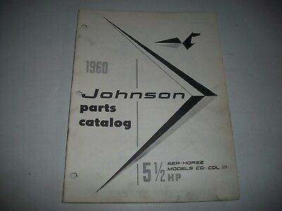 1960 Johnson Cd Cdl17  Sea-Horse 5 1/2 Hp 5.5 Hp Outboard Parts List Catalog