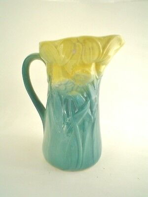 """Antique Royal Copely Daffodil 8"""" Pitcher in Blue and Yellow"""