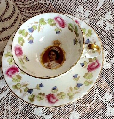 Commemorative Coronation Aynsley Cup And Saucer 1953 Rare Find