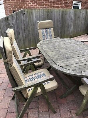 Wooden Garden Furniture Set Table & 6 Chairs, including Cushions, Umbrella, base