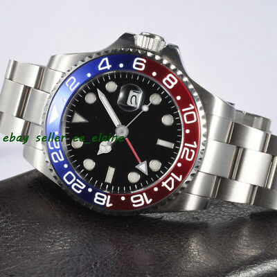 Corgeut 43mm Mens Automatic Red GMT Watches , Blue & Red Bezel Sapphire Glass 02