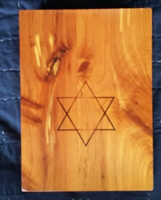 Vintage Holy Scripture Cedar Wood Storage Box Star of David Carpenter Union Made