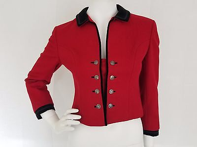 Vtg PISCHL Original Tyroler Loden Made in Austria Drindl Red Wool Jacket SM / 36