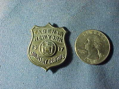 Orig WWI 1917 NY State MILITARY CENSUS Agent BADGE PIN