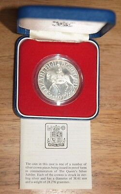 Royal Mint Sterling Silver Proof Crown - Elizabeth II 1977 Jubilee - Boxed