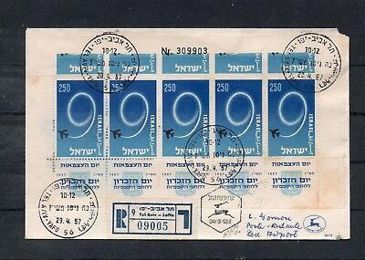 Israel Scott #128e Sheetlet With Added Upper Part of Stamps Imperforate on FDC!!