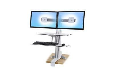 Ergotron Workfit-S Dual Sit-Stand Worksurface & Large Kybd Tray Bright White