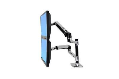 ERGOTRON LX Dual LCD vertical Stacking Arm polished aluminium Max 24IN