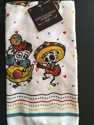 Day Of The Dead Dia Muertos Sugar Skull Dancers Kitchen Dish Towel NWT Halloween