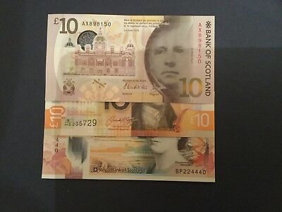 3 Scottish Bank Polymer £10 Notes Rbs Bos Clydesdale Unc