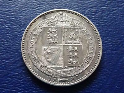 Queen Victoria Sterling Silver Shilling 1887 Great Britain Uk