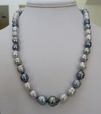 """20"""" Honora Sterling Silver 8Mm-11.5 Tuxedo Gray Ringed Pearl Necklace Box Pouch"""
