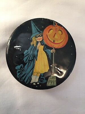 Vintage  Halloween Small Tin Candy Container Tindeco Witch Pumpkin