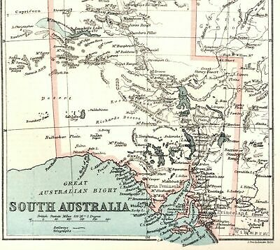 South Australia Unexplored Lake Torrens Spencer Gulf 1885 Bartholomew old map