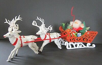 Vintage 70's Santa With a Whip and 4 Reindeer Flocked Plastic Sleigh