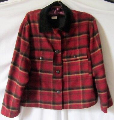 Classic Red Plaid Wool Blend Jacket With Corduroy Collar by Herman Geist Size 14