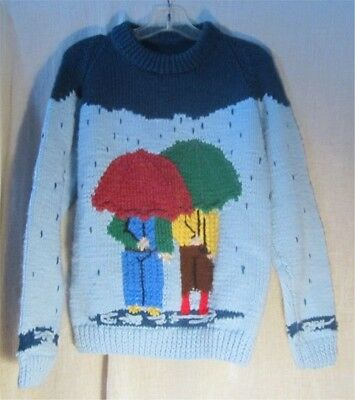 Hand Knit Cozy Sweater For Those Splash Through The Puddles Days