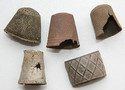 Group Of Antique Old Bronze Thimbles (J01)