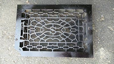 Vintage VICTORIAN Cast Iron Floor Grille 16x11 Heat Grate Register with Louvers