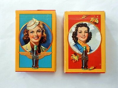 2 Decks Vintage Coca Cola Stewardess WWll Military Wings Playing Card 1940s-50s