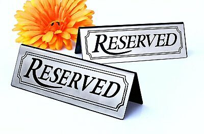 2 Pcs. New Star 26900 RESERVED Table Tent Sign Stainless Steel 4.75 x 1.5 inch