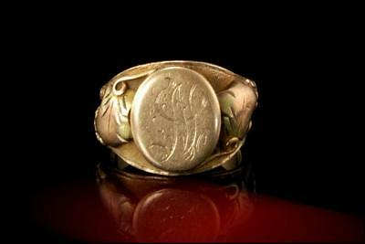 Victorian Monogram 10K Yellow Gold Antique Ring Signet