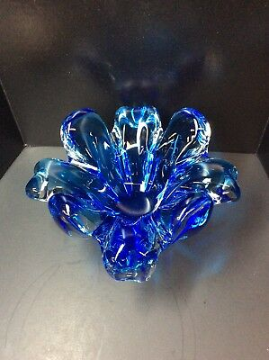 Chalet Canada Blue Sculptural Art Glass Bowl - Marked