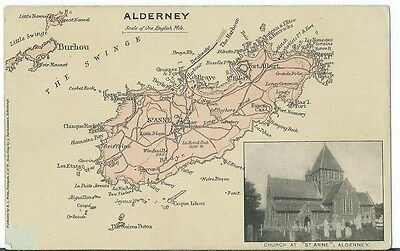 Alderney Vintage Map Card Insert St Anne Church PPC by A J Potts Garden Isle Ser