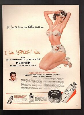 1946 Mennen Brushless Shave Cream Pin Up Girl Mingo Vintage Print Ad
