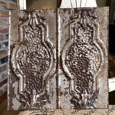 """12"""" Antique Tin Ceiling Tile -- Rusty Silver Paint with Pretty Design"""
