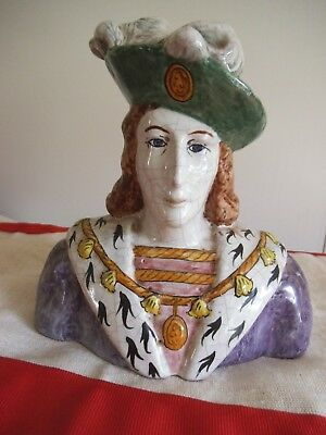 Ca French Faience Bust Charles V111 King Roi De France Alcide Chaumeil N Quimper
