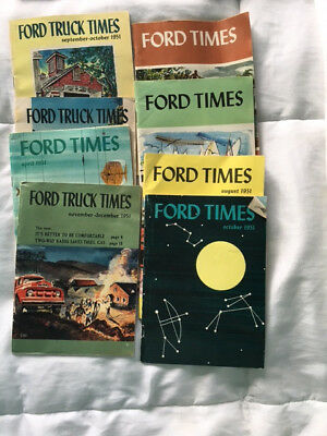"""LOT OF eight (8) VINTAGE """"FORD TIMES"""" MAGAZINE ISSUES  1951"""