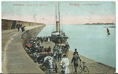 Alderney Channel Islands Arrival of the Steam Ship Courier PPC Used 1906