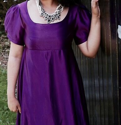 Jane Austen Regency Style Purple Dress - UK Size 16 (Costume/Theatre/Halloween)